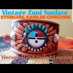Jewelry - Vintage Zuni Sunface All Sterling Leather Bracelet